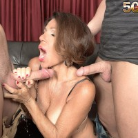 Older gal Layla LaMora tangles with a duo of large pricks simultaneously