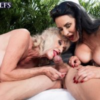 Aged doll Rita Daniels and her wife tempt and blow off a younger boy