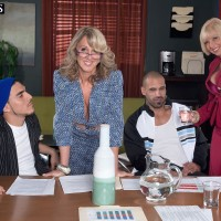 Mature women Jenna Covelli and Scarlet Andrews entice younger dudes at a diner