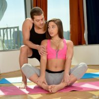 MILF XXX film star Abella Danger having greased yoga pants done away with before bung-hole sex
