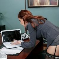 MILF XXX star Britney Amber getting butt screwed adorned hose on work environment desk