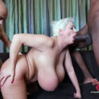 Monster-sized titted platinum golden-haired Claudia Marie takes on hefty milky and ebony boners at once