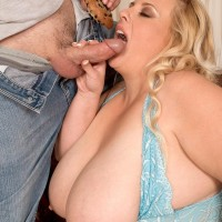 Plus-size blond chick Cassie Blanca freeing monster-sized titties before providing BLOW-JOB while gobbling food