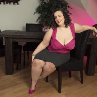 Plus size brunette solo model Mia Ultra-cutie disrobing down to her boulder-holders and underwear