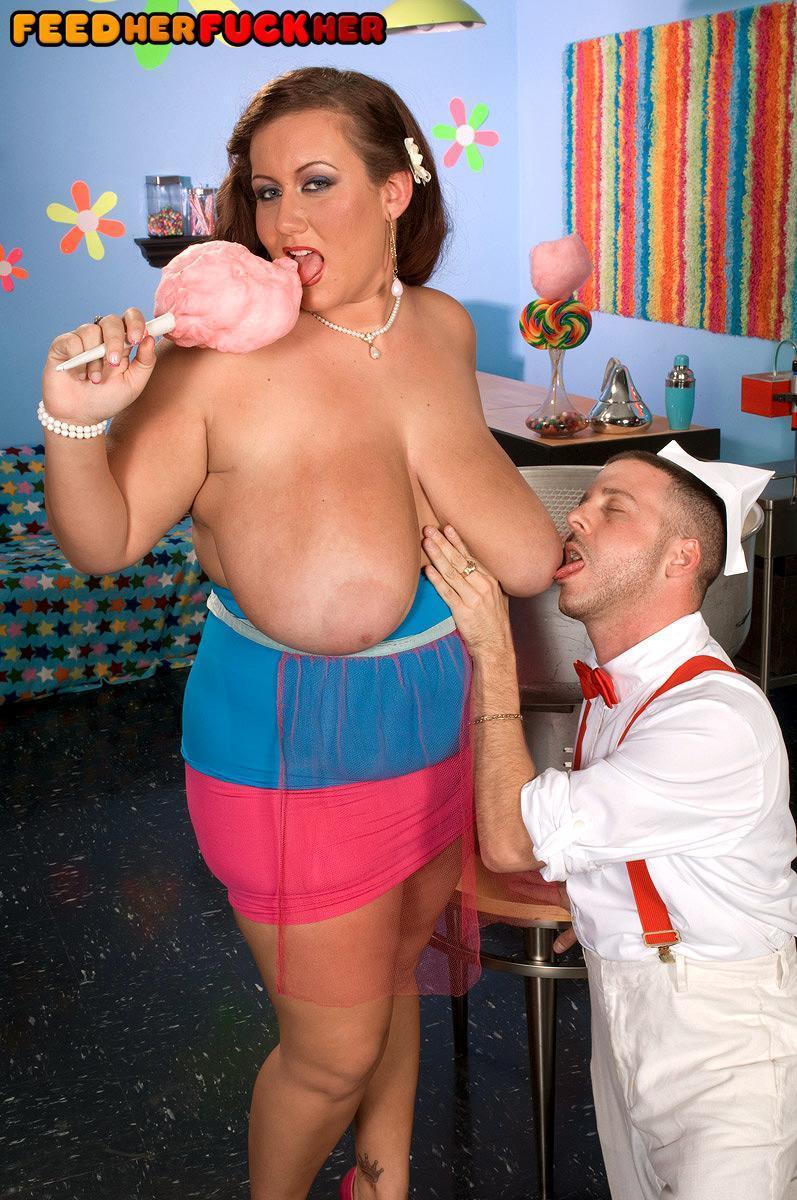 Plus size female Rose Valentina masturbating while tonguing cotton candy