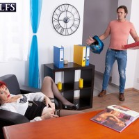 Old redhead Caroline Hamsel deepthroats and ravages a dude after he catches her masturbating