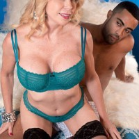Aged fair-haired doll Alexa Rae extracting monster-sized melons from boulder-holder to titty poke massive black cock