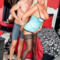 Aged fair-haired gal Annellise Croft titties boinks a rock-hard dick after having hard nipples fellated