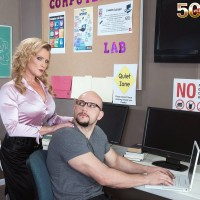 Over Fifty sandy-haired MILF tutor Amanda Verhooks caught delivering BJ in classroom