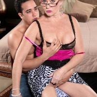 Over 50 light-haired MILF Tracy Tongues having humungous hooters unveiled before giving BLOW-JOB in glasses