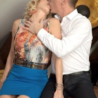 Over 50 blond Molly Maracas uncovers her big boobs before tonguing a dick on knees