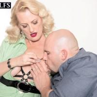 Over 50 sandy-haired gal Lady Dulbin seducing junior man in nippleless melon-holder