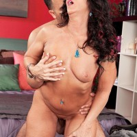 Over Fifty brown-haired Azure Dee giving junior stud hj before doggy style boinking