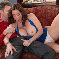 Over Fifty MILF Rachel Steele unveiling massive boobies before having cooter munched out on sofa
