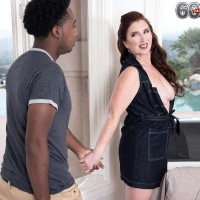 Over 60 woman Maria Fawndeli tempts a younger ebony guy while tutoring him