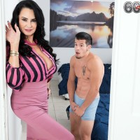 Over Sixty MILF Rita Daniels seduces her stepson and jerks his prick after stripping him