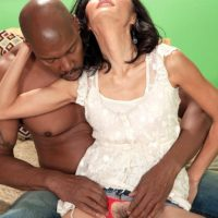 Petite grandmother Sahara Blue has her all-natural honeypot fingered by her ebony paramour