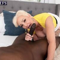 Platinum blonde granny Seka Ebony bj's off a junior man's immense black dick