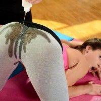 Pornostar Abella Danger gets lubed up by yoga tutor before stiff anal invasion