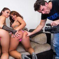 Pornographic stars Mischa Brooks and Savannah Fox do butt-hole sex in a rock-hard three-way poke