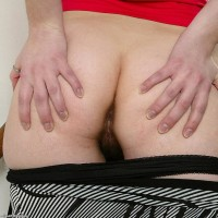 Pretty Euro first timer flaunting hairy pussy in ponytails and mesh hosiery