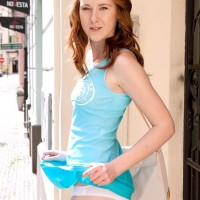 Ginger-haired first-timer Linda Sexy showcasing upskirt undies outdoors before whipping out tiny melons