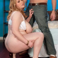 Redhead BBW Sadie Berry seduces a stud by showcasing upskirt cotton panties