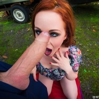 Ginger-haired MILF Ella Hughes taking stiff butt-banging in woods from big cock