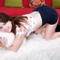 Ginger-haired teenager Jennifer Matthews strips nude on her bed to celebrate turning Legal