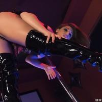 Wonderful female Abella Danger grinds her massive butt against stripper pillar before sex for money