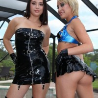 Cool chicks Daisy Marina and Angel tease a male submissive while his dick is in bondage