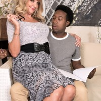Gorgeous grannie Mia Magnusson gets banged doggystyle after seducing a ebony stud