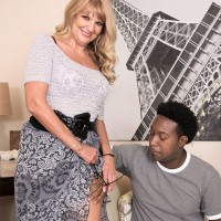 Fabulous grandmother Mia Magnusson gets nailed doggy after seducing a black dude