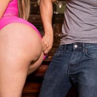 Wonderful Latina MILF Samantha Bell seducing man at bar with her big bootie