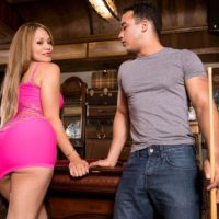 Jaw-dropping Latina MILF Samantha Bell seducing boy at bar with her hefty butt