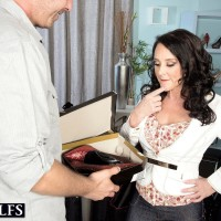 Sumptuous experienced lady Lexi Ambrose has her bare feet and tits played with by a salesman