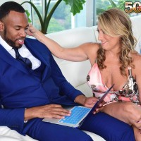 Fabulous aged lady Torri Lee seduces a ebony guy by unsheathing her huge juggs from her sundress