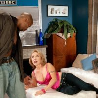 Inviting experienced woman Luna Azul entices a junior black boy in satin lingerie and denim jeans