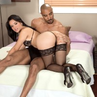 Uber-sexy MILF Cici Love has her gigantic bum captured by her black paramour in nylons and high-heels
