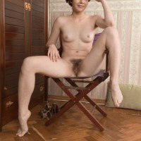 Short haired amateur in high heels Aria discarding cut-offs to uncover hairy snatch