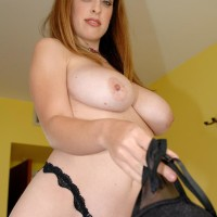 Solo chick Brianna Bragg pulling out giant all natural juggs from brassiere after jeans removal