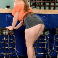 Solo female Jessica Taylor extracts her massive tits at the bar with hair up in ponytails