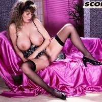 Solo chick Lisa Kelly cradles a gigantic knocker in hose paired with garters
