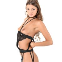 Solo model Melena Tara wedges sex toys in her bulls eye and twat in ebony nylons