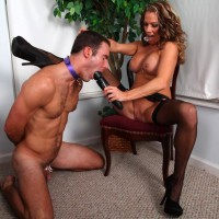 Stocking and high heel garmented girlfriend Allura Sky dominating collared subby hubby