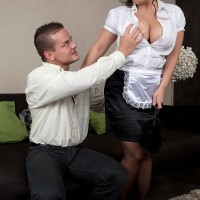 Stocking and uniformed adorned maid having monster-sized natural hooters unveiled for nip play