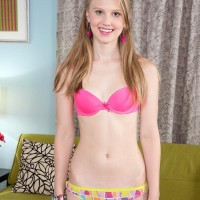 Killer teenage Lily Rader shows her uber-cute bloomers before showing her smallish titties