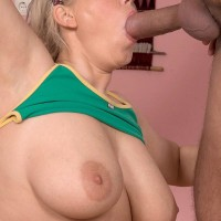 Tatted yellow-haired sweetie Lucy vaunting fun bags while providing immense penis blowjob