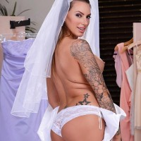 Tattooed bride Juelz Ventura exposes her monster-sized titties before anal sex commences