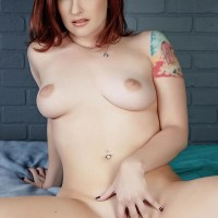 Tattooed red-haired Sophia Locke taking triple penetration from border guards